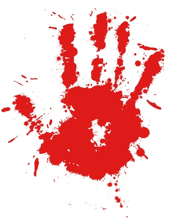 Red drop ink splatter hand print, blood splash vector. Gloss brush paint spot, grunge blot, art blob, oil, abstract droplet. Splat, liquid illustration. Vector