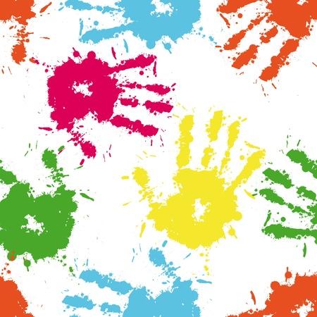 vieze handen: Print inkt van de hand van het kind, naadloze schattig teamwork patroon, vector grunge illustratie