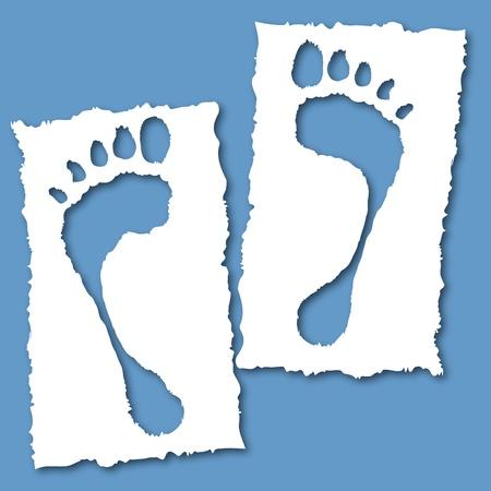huellas pies: Papel con un agujero del pie, la salud lindo ilustraci�n vectorial. Elementos para el dise�o