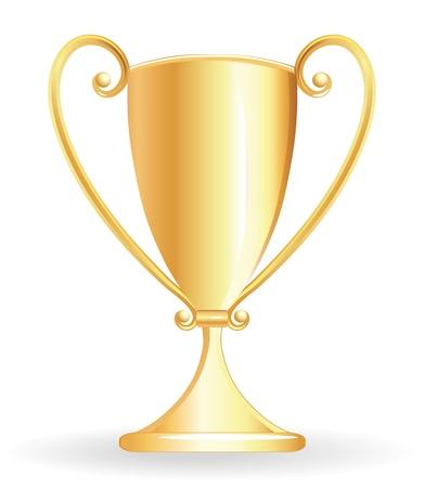 goblet: Champion cup for football, gold goblet, sport prize. Vector illustration. Illustration