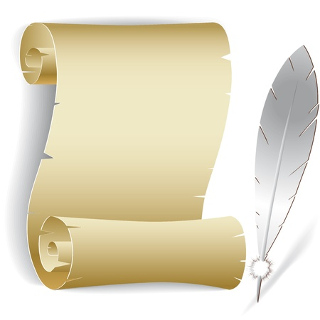 vintage scrolls: Old paper roll with feather vector illustration of contact list background.