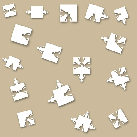 Business seamless paper background friendship team people, puzzle illustration. Company staff teamwork. Eps 10. Vector