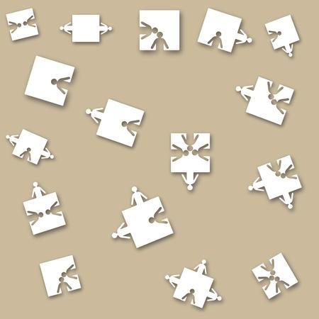 Papel transparente fondo amistad equipo empresarios, ilustración de puzzle. Equipo de personal de la empresa. EPS 10.