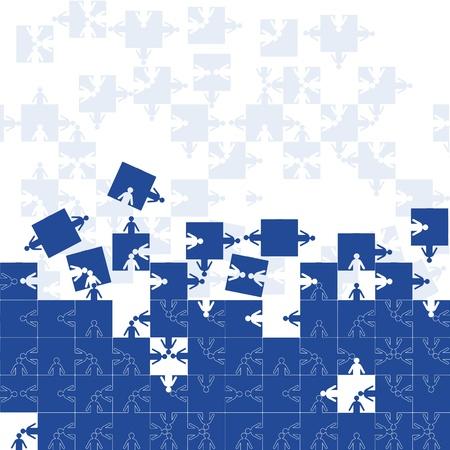 Gorizontal transparente fondo amistad equipo empresarios, ilustración de puzzle. Equipo de personal de la empresa.