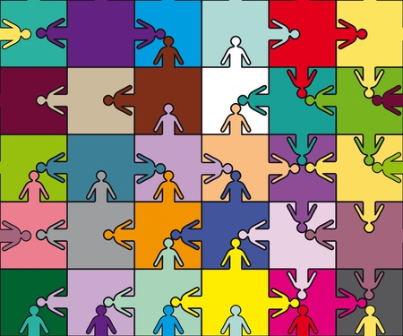 equal opportunity: Business seamless background friendship team people, puzzle illustration. Company staff teamwork.
