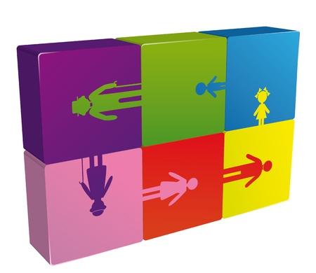 поколение: Семья головоломки логотип поколение людей, иконки векторные иллюстрации. Социальный фон.