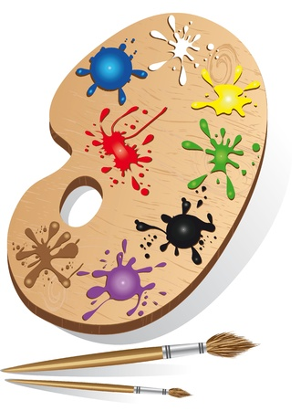 Art palette icon and instrument with paint and ink set brush for drawing. Wooden vector illustration. Vector
