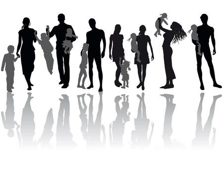 Siluetas de mujer, hombre, niños, familia, ilustración, icono, vector Ilustración de vector