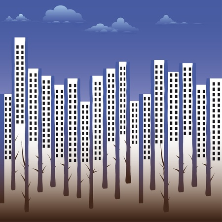 Seamless building silhouette city background with urban street house. Vector