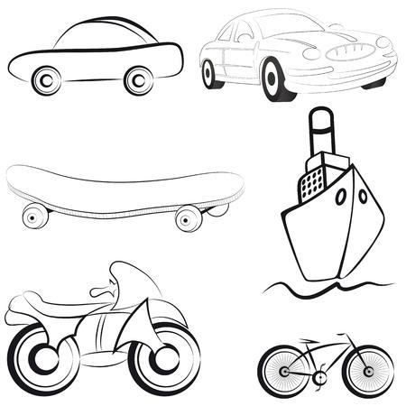 Transport, sketch style icon, emblem of bike, ship. Set illustration Vector
