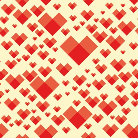 Square pattern heart background seamless texture. Valentine day illustration. Cute graphic art wallpaper. Vector