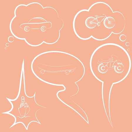 Set speech and thought bubble about dreams. Wishes cloud.  Element for design. Vector
