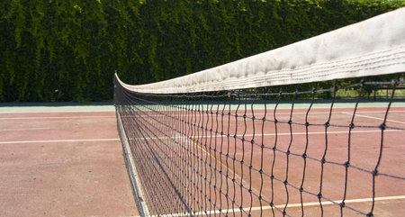 Tennis sport court with net. Field for training or competition game. photo