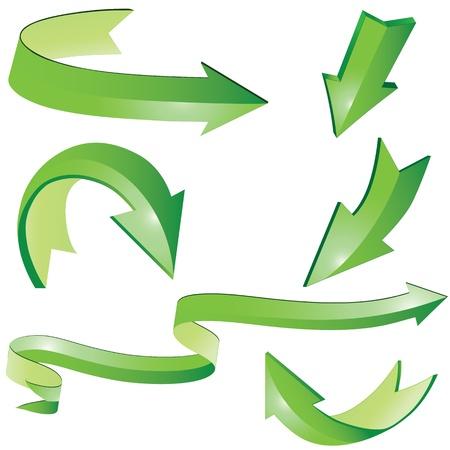 flechas curvas: Signo de flecha 3D conjunto ilustración. Elementos para el diseño.