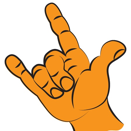 Victory fist hand held high two finger for protest or gesture symbol of rock music . Illustration