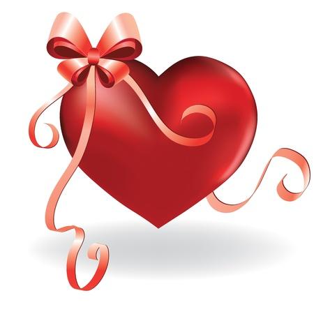 amistad: Amor del corazón de tarjetas de San Valentín de fondo con la cinta y la ilustración del arco. Vectores
