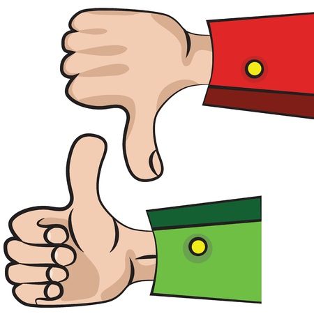 Art vector hand gesture like unlike with thumb up icon. Vector