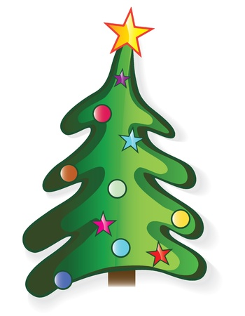Icon christmas tree with star and ball, creative cartoon merry vector illustration. Element for design. Vector