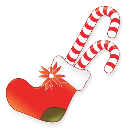 stocking: Icon christmas sock for present, creative cartoon candy vector illustration. Element for design. Illustration