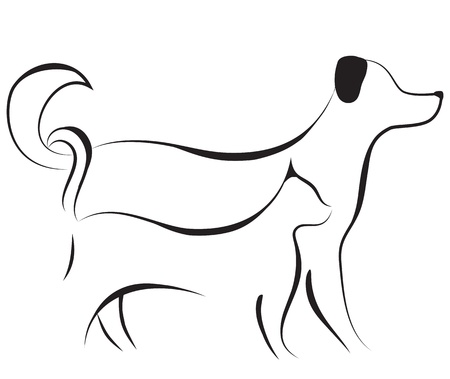 Cat and dog friend logo sketch vector illustration. Element for design.
