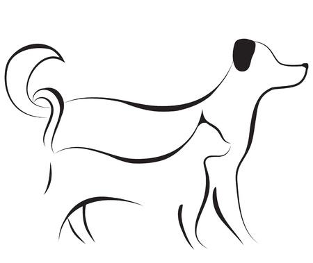 Gato y perro amigo logo ilustración vectorial dibujo. Elementos para el diseño.