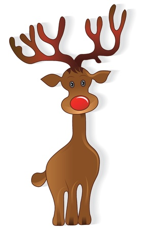 Icon christmas cute deer, creative cartoon merry vector illustration. Element for design.