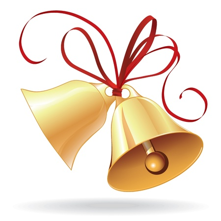 bell: Bell golden for  Christmas or wedding with red bow icon, element for design.