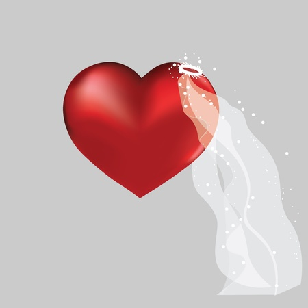 wedding veil: Love heart in bridal valentine cute wedding background. Vector object for design.