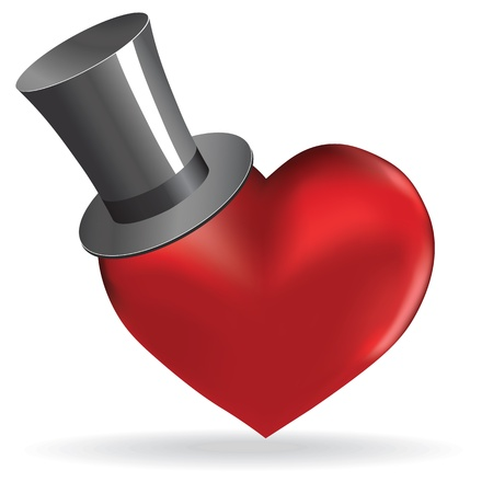 tophat: Love heart in hat valentine cute wedding background. Vector object for design. Illustration