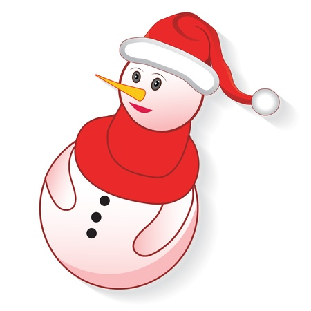 Icon christmas cute snowman, creative cartoon merry vector illustration. Element for design.