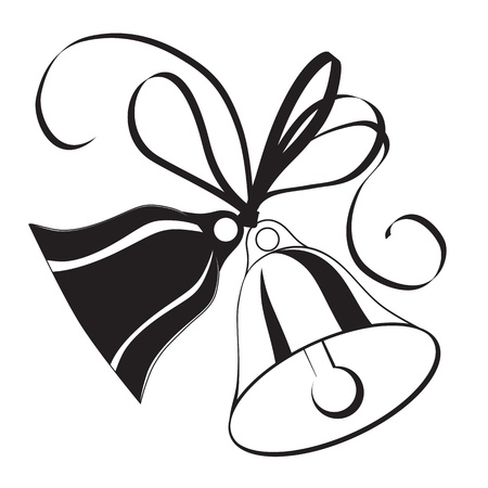 Bell sketch for  Christmas or wedding with icon, element for design. Vector