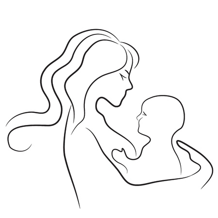 Mother and baby icon. Woman family child vector. Line drawing. Sketch silhouette. Stock Vector - 11530404