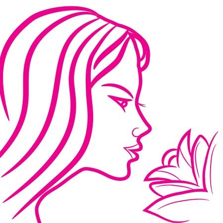 Logo Signe astrologique Vierge, croquis icône de style, femme, fille de tatouage avec des fleurs, isolé sur fond blanc.
