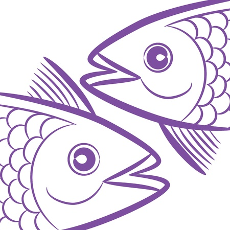 logo poisson: Zodiac signe logo - Poissons, icône de tête de poisson symbole tatouage, isolé sur fond blanc