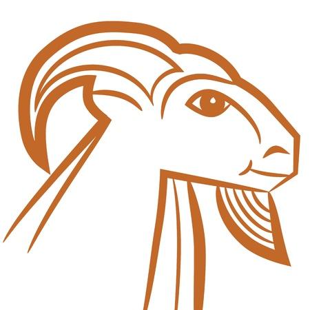 capricornio: Signo zodiacal Capricornio logo, dibujo icono de la moda del tatuaje de cabra aisladas sobre fondo blanco. Vectores