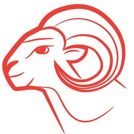 carnero: Signo zodiacal Aries logo, dibujo icono de la moda del tatuaje ovejas aisladas sobre fondo blanco.