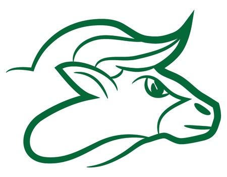 Zodiac sign Taurus logo, icon sketch style tattoo bull isolated on white background.