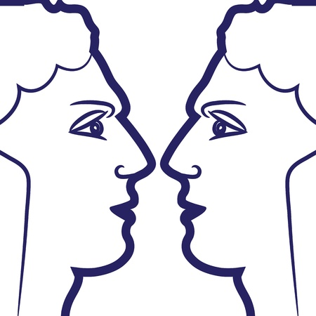 Signo del zodiaco Géminis logotipo, icono del estilo del tatuaje boceto personas aisladas sobre fondo blanco.