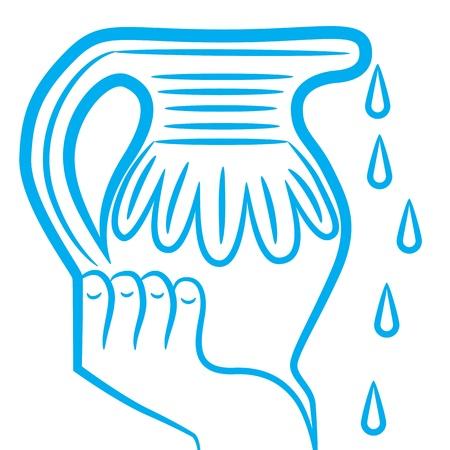 Zodiac sign Aquarius logo, icon sketch drop water isolated on white background.