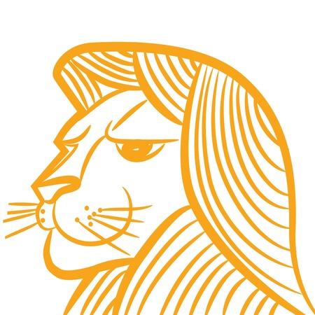 zodiac background: Zodiac sign leo logo, icon lion sketch style tattoo animal isolated on white background. Illustration