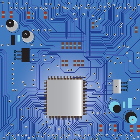Electronic circuit board with chip, technology, microchip background Vector