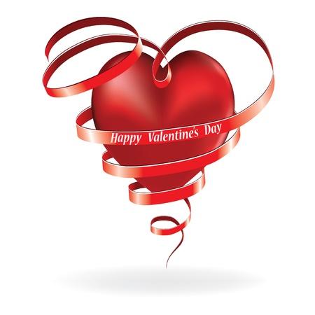 Herz-Liebes-Karte, Valentinstag, Hintergrund mit Schleife Lizenzfreie Bilder - 11591939