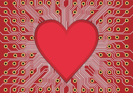 lovestruck: Red electronic circuit board, heart in technology. Valentine day