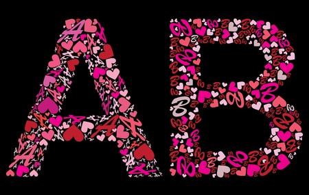 write abc: Letter A, B. Valentine alphabet set with heart.