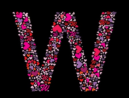 Letter W. Valentine alphabet set with heart. Vector font. Stock Vector - 11664262