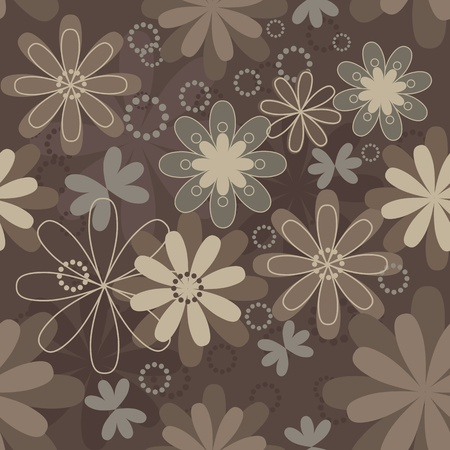 Vintage art vector flower seamless pattern background. Fabric texture. Floral design. Pretty cute wallpaper. Romantic cartoon feminine tile. Vector