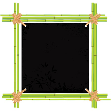 Bamboo asian frame with tropic old paper. Copy space menu vector illustration isolated on white background Vector