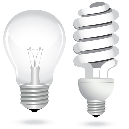 filament: Icon set energy saving light bulb lamp glass electricity. Vector illustration.