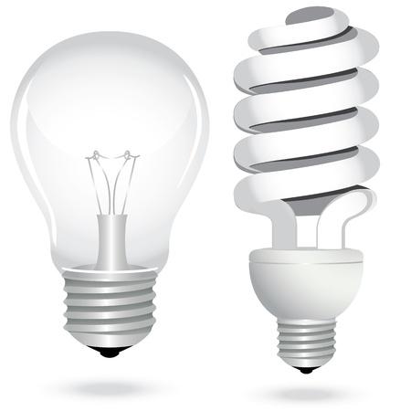 thrift: Icono de conjunto de energ�a bombilla de ahorro de luz de la l�mpara el�ctrica de vidrio. Ilustraci�n del vector.
