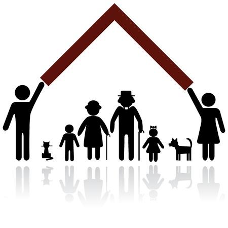 Bescherming van mensen silhouet familie icoon. Persoon vector vrouw, man. Kind, grootvader, grootmoeder, hond, kat. Thuis illustratie. Stock Illustratie
